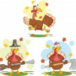 Turkey Birds Cartoon Characters 2 Collection Set — Foto de stock #34976479