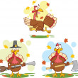 Turkey Birds Cartoon Characters 2 Collection Set — Foto Stock #34976479
