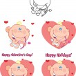 Stock Photo: Cute Baby Cupid Cartoon Character Set Collection