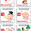 Holiday Cartoon Calendars 2  Set Collection — Stock Photo