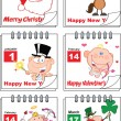 Holiday Cartoon Calendars 2 Set Collection — Stock Photo #34976505
