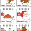 Holiday Cartoon Calendars 1  Set Collection — Stock Photo