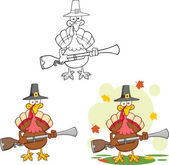 Pilgrim Turkey Bird Cartoon Character With A Musket Collection Set — Stock Photo