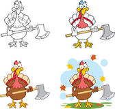 Turkey With Ax Cartoon Character Collection Set — Stock Photo