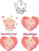 Cute Baby Cupid Cartoon Character Set Collection — Stockfoto