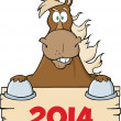 Stock Photo: Brown Horse Looking Over Blank Wood Sign With Numbers 2014