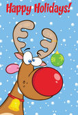 Happy Holidays Greeting With Reindeer With Christmas Ball. — Stock fotografie