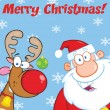 Merry Christmas Greeting With Reindeer And Santa Claus — Stock Photo