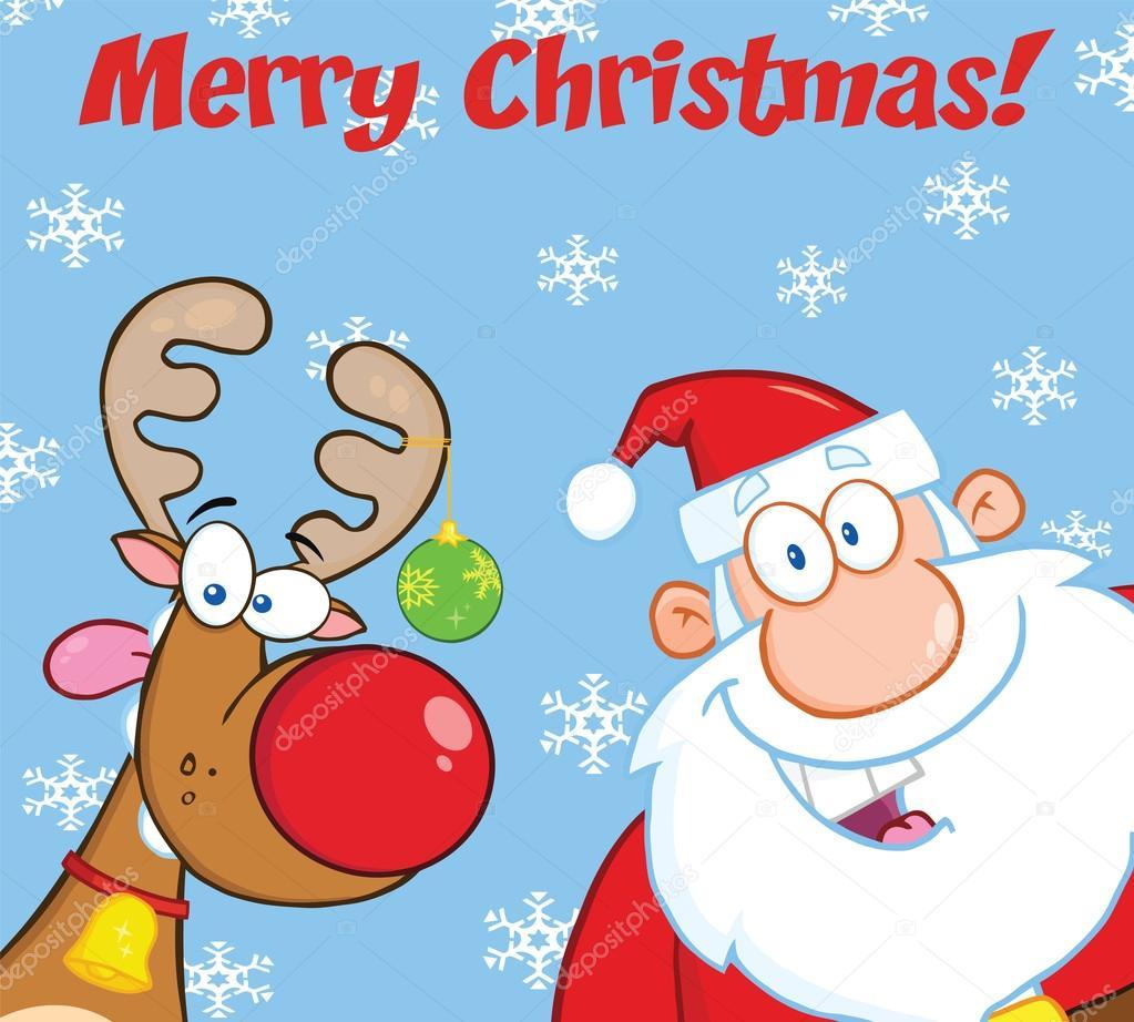 Saludo feliz Navidad con renos y santa claus — Fotos de
