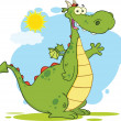Green Dragon Cartoon Character Waving — Stock Photo
