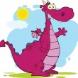 Purple Dragon Cartoon Character Waving — Foto Stock