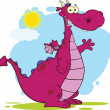 Purple Dragon Cartoon Character Waving — ストック写真