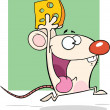 Stock Photo: White Mouse Cartoon Character Running With Cheese