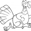 Black and White Happy Turkey Bird Cartoon Character Running — Stock Photo