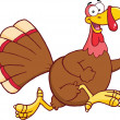 Happy Turkey Bird Cartoon Character Running — 图库照片