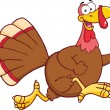Happy Turkey Bird Cartoon Character Running — Stockfoto