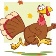 Happy Turkey Bird Cartoon Mascot Character Running — Stock Photo
