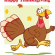 Happy Thanksgiving Greeting With Turkey Bird Running — Stock Photo