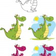 Dragons Cartoon Mascot Characters  Collection Set — Stock Photo