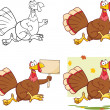 Cute Turkey Cartoon Character Collection Set — Foto Stock