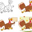 Cute Turkey Cartoon Character Collection Set — 图库照片