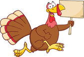 Happy Turkey Bird Cartoon Character Running With A Blank Wood Sign — Stock Photo