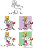 Cute Mouse Cartoon Characters Collection Set — Stock Photo