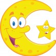 Smiling Crescent Moon And Happy Little Star Characters — Stockfoto
