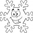 Black And White Snowflake Cartoon Character — Stockfoto