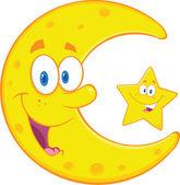 Lächelnd halbmond und glücklich kleine sterne zeichen — Stockfoto
