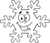 Black And White Snowflake Cartoon Character — Stock Photo