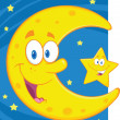 Smiling Crescent Moon And Little Star  — Stock Photo