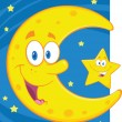 Smiling Crescent Moon And Little Star  — Foto Stock