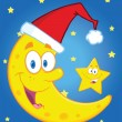 Smiling Crescent Moon With Santa Hat And Happy Christmas Star — Stock Photo