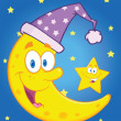 Smiling Crescent Moon With Sleeping Hat And Happy Little Star — Zdjęcie stockowe