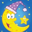 Smiling Crescent Moon With Sleeping Hat And Happy Little Star — Stockfoto