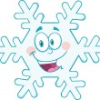 Snowflake Cartoon Mascot Character — Stock Photo