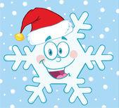Snowflake Cartoon Mascot Character With Santa Hat — Stock Photo