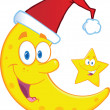 Crescent Moon With Santa Hat And Christmas Star Cartoon Characters — Stock Photo #35855709