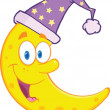 Smiling Cute Moon With Sleeping Hat Cartoon Mascot Character — Stock Photo #35860031