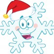 Cute Snowflake Cartoon Mascot Character With Santa Hat — Stock Photo