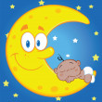 Cute Baby Boy Sleeps On The Moon Over Blue Sky With Stars — Stock Photo #36030559