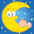 Cute Baby Girl Sleeps On The Smiling Moon Over Blue Sky With Stars — Stock Photo