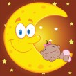 Cute African American Baby Girl Sleeps On The Smiling Moon — Stock Photo