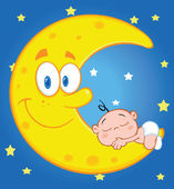 Cute Baby Boy Sleeps On The Smiling Moon Over Blue Sky With Stars — Stock Photo