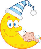 Cute Baby Boy Sleeps On The Smiling Moon With Sleeping Hat — Stock Photo