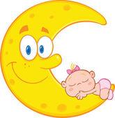 Ragazza carina bambino dorme sulla luna sorridente — Foto Stock
