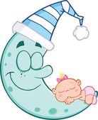Cute Baby Girl Sleeps On Blue Moon — Stock Photo