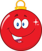 Happy Red Christmas Ball Cartoon Mascot Character — Stock Photo