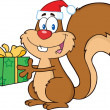 Happy Squirrel With Santa Hat Holding A Gift   — Stock Photo